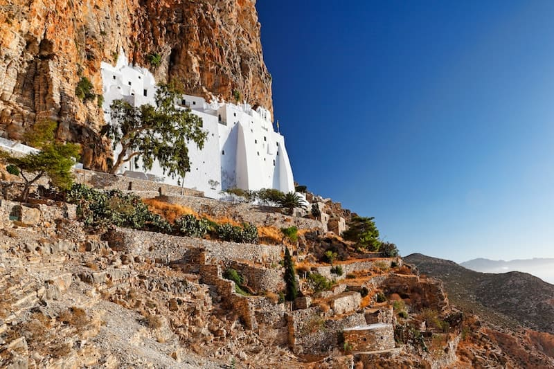 Beautiful Hozoviotissa Monastery carved into hillside on Amorgos