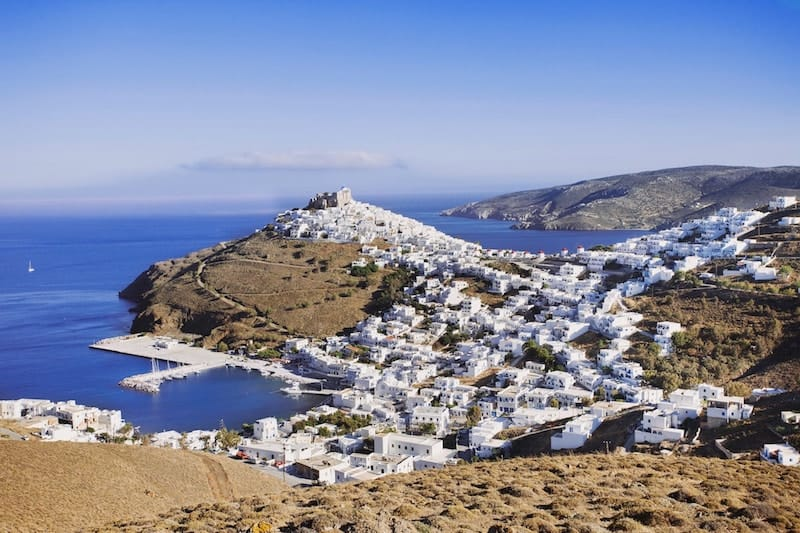View over whitewashed Astypalaia Chora from the hills behind