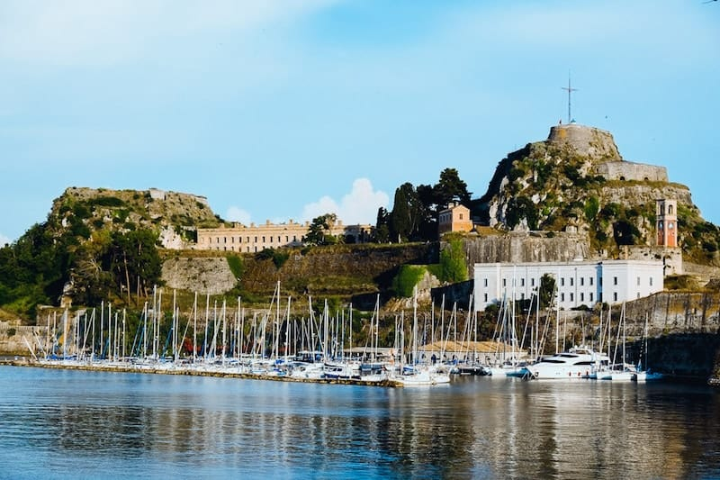 Yachts in front of the castle in Corfu Old Town