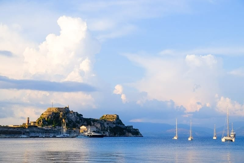 Clouds form above Corfu castle