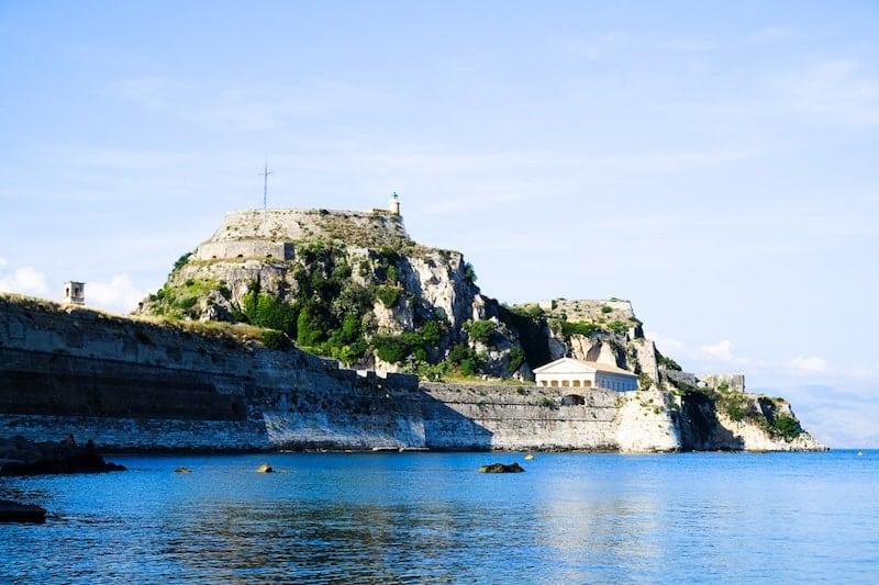 Old Fortress of Corfu as seen from Garitsa Bay