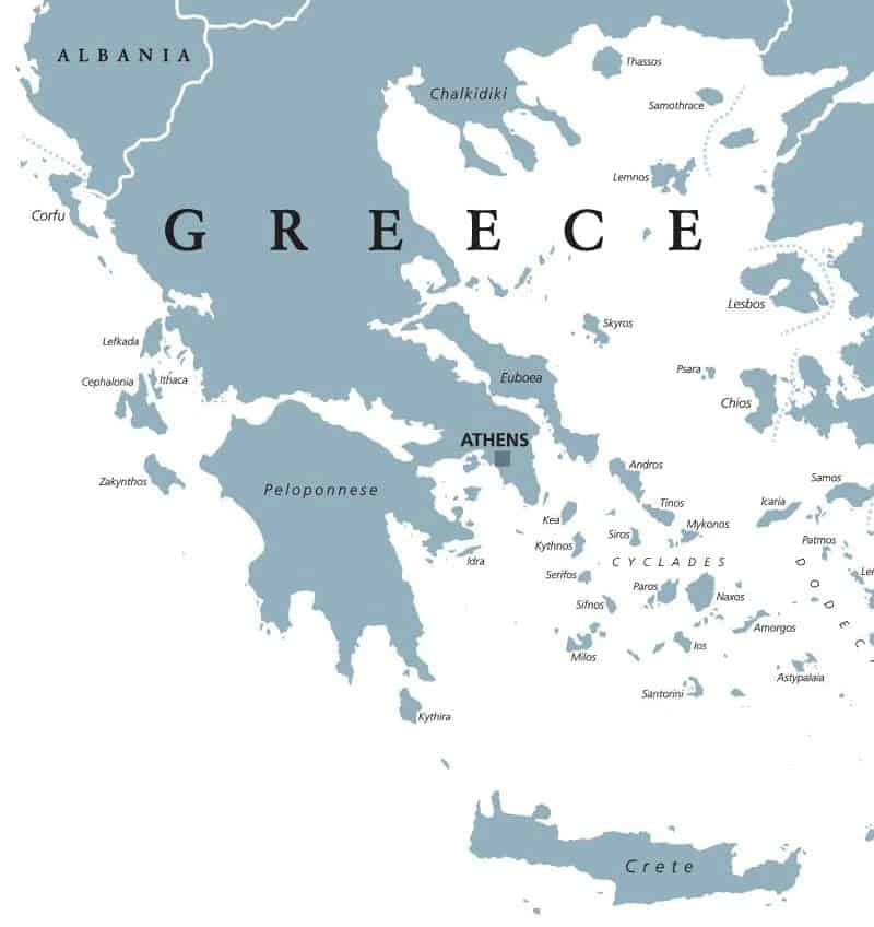 Map of Greece and islands