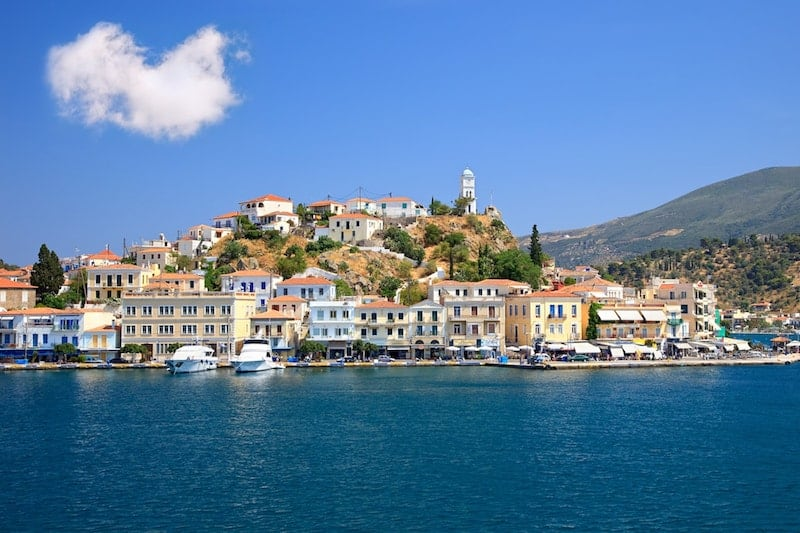 The scenic harbourfront of Poros Town