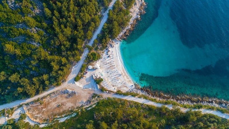 Aerial view of Saliara (Marble Beach) on the Greek island of Thasos