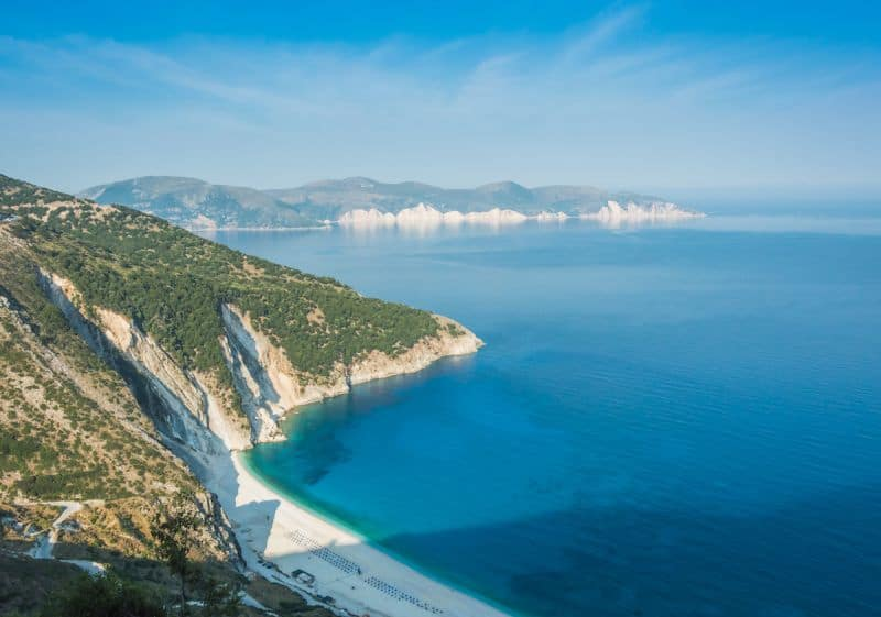 Green-topped cliffs plunging into the sea at Myrtos, Kefalonia