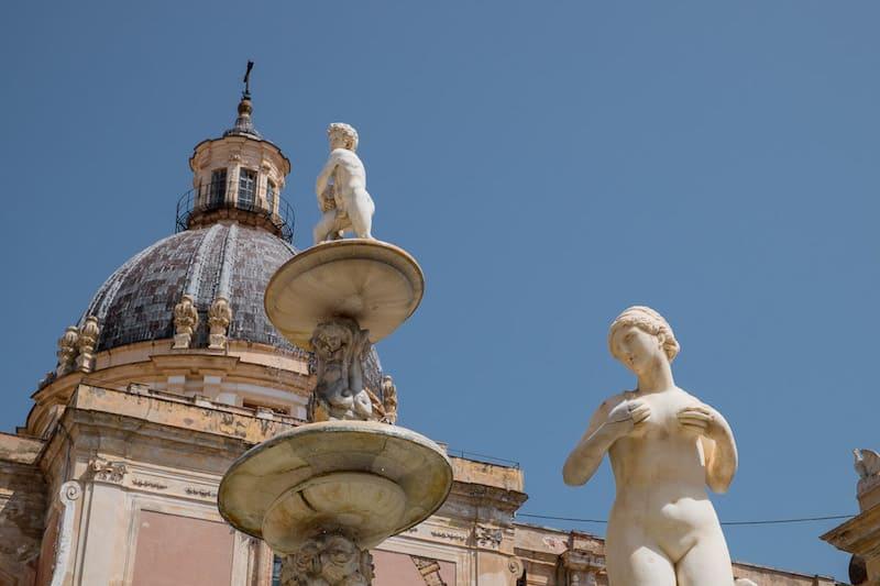 Nude nymph in Palermo's Fontana Pretoria
