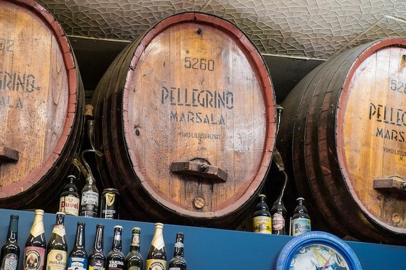 Marsala barrels in a Vucciria bar