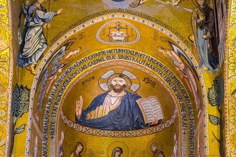 Christ Pantocrator apse mosaic in Palatine Chapel