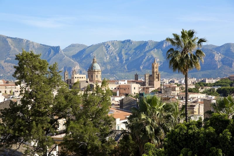 Panoramic view of Palermo with Monte Pellegrino in the background
