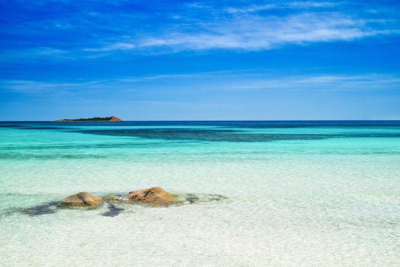 Turquoise waters of Tahiti Beach in Sardinia