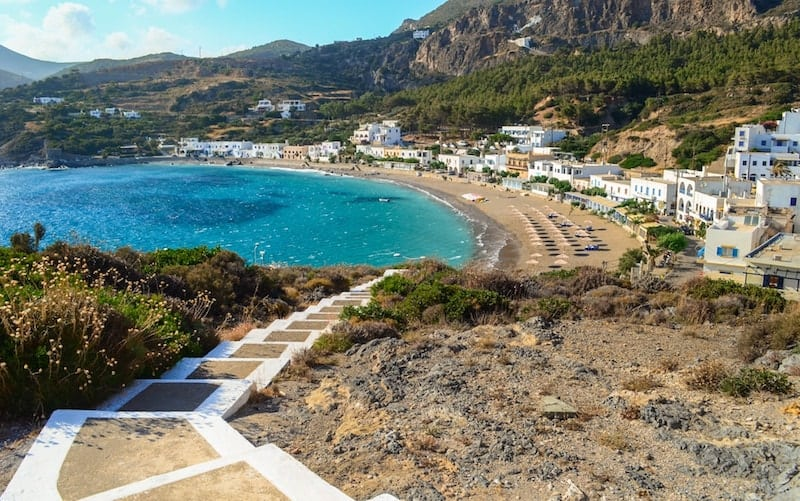 The beach and white village of Kapsali on Kythira