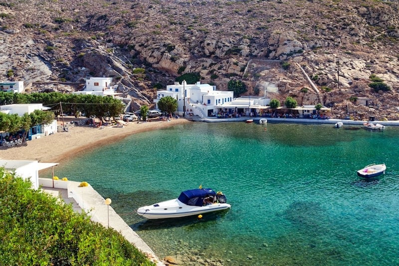 Pretty white buildings in Cherronisos Bay on Sifnos