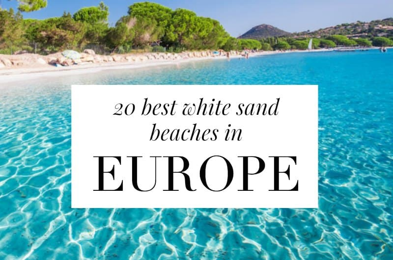 Corsica beach with text overlay '20 best white sand beaches in Europe'