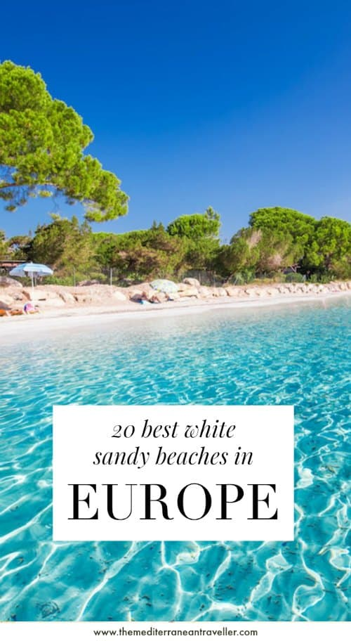 Corsica beach with text overlay '20 best white sandy beaches in Europe'