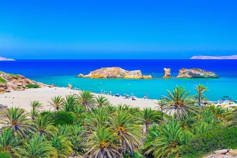 Palm trees at Vai Beach on Crete, Greece
