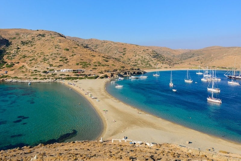Double-sided Kolona beach on Kythnos, Greece