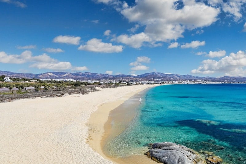 White sandy beach on Naxos