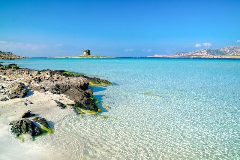 Shallow waters of Pelosa beach at Stintino, Sardinia