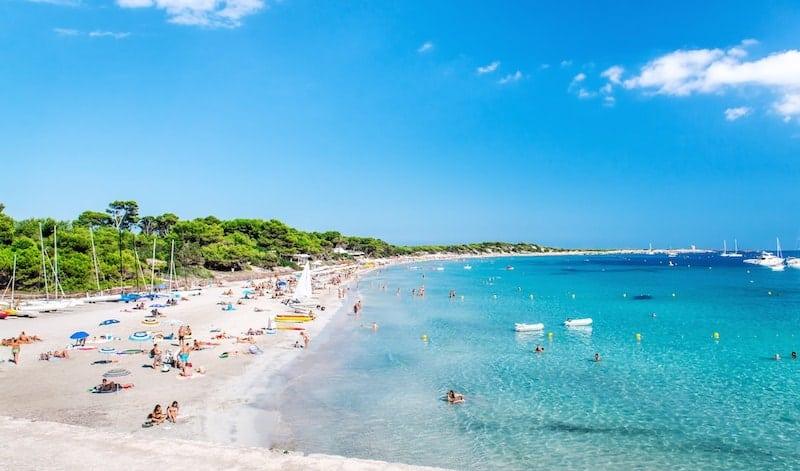White sands of Las Salinas beach on the Spanish island of Ibiza