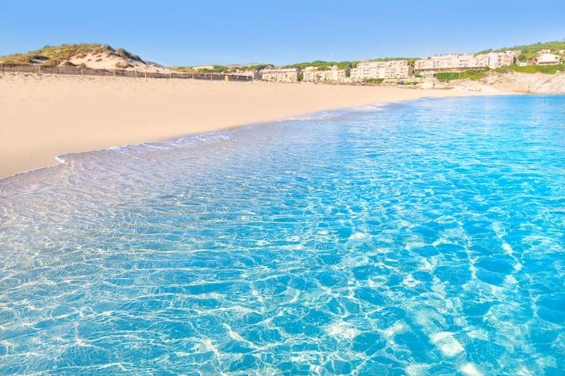 Turquoise seas on Cala Mesquita on the Balearic island of Majorca