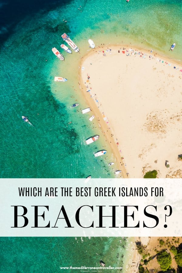 Aerial view of Turtle Island beach with text overlay 'Which are the best Greek Islands for beaches?'