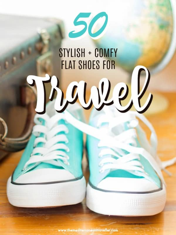 Converse with text overlay '50 Stylish and Comfy Flat Shoes for Travel'