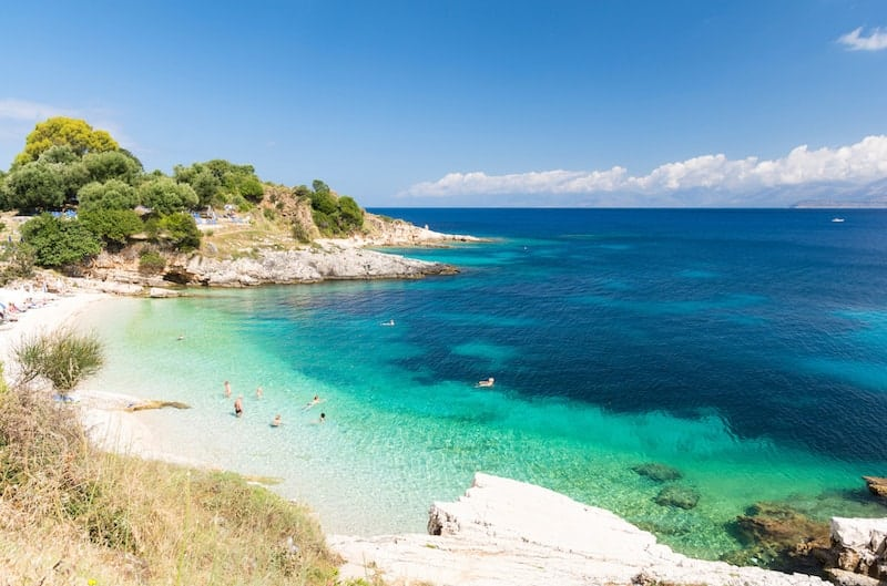 Beach and inviting turquoise waters at Kassiopi on Corfu
