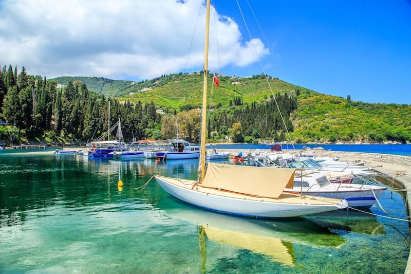 Small boats in Kouloura harbour, Corfu
