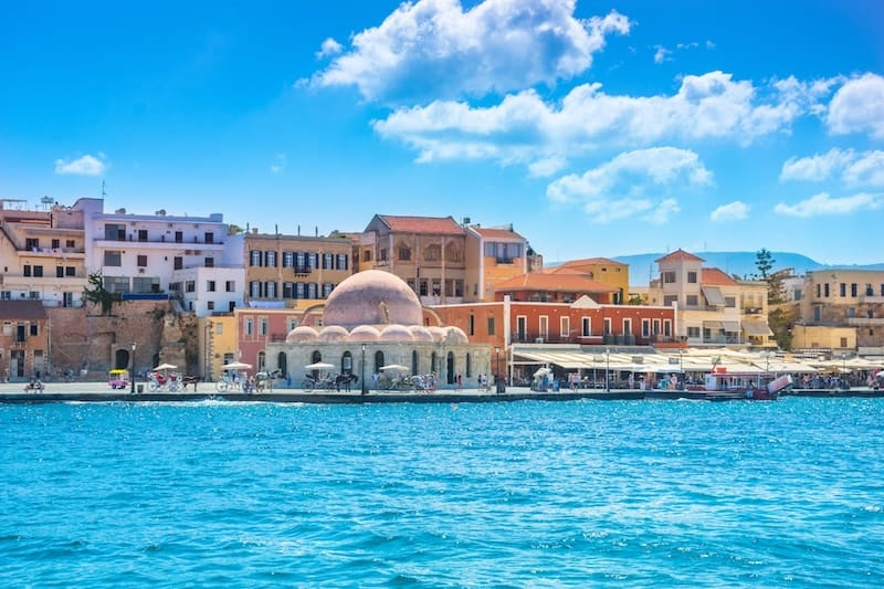 Picturesque harbour in scenic Chania, Crete