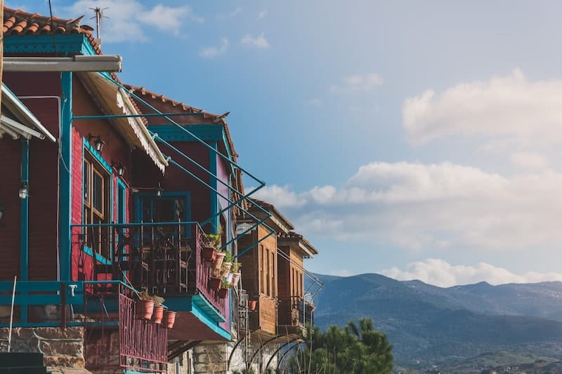 Colourful houses on Lesvos