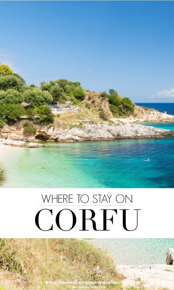 Kassiopi beach with text overlay 'Where to stay on Corfu'