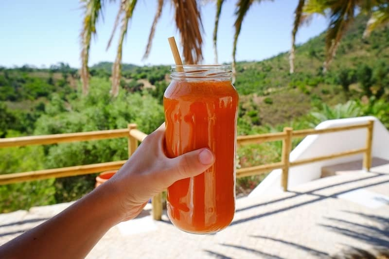 Carrot and apple juice at Wild View Retreat