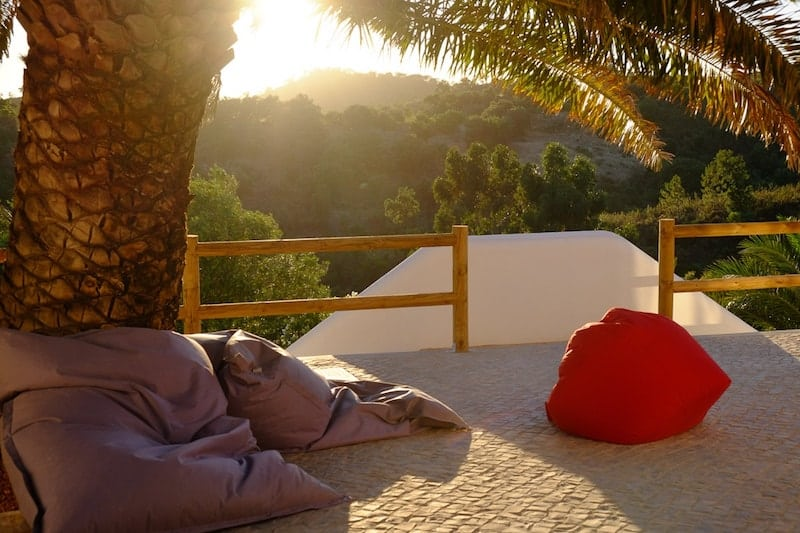 Beanbags for the sunset view at Wild View Retreat