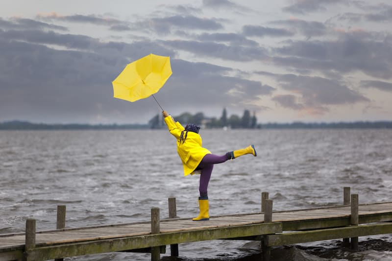woman with yellow waterproof jacket and matching umbrella in the wind and rain