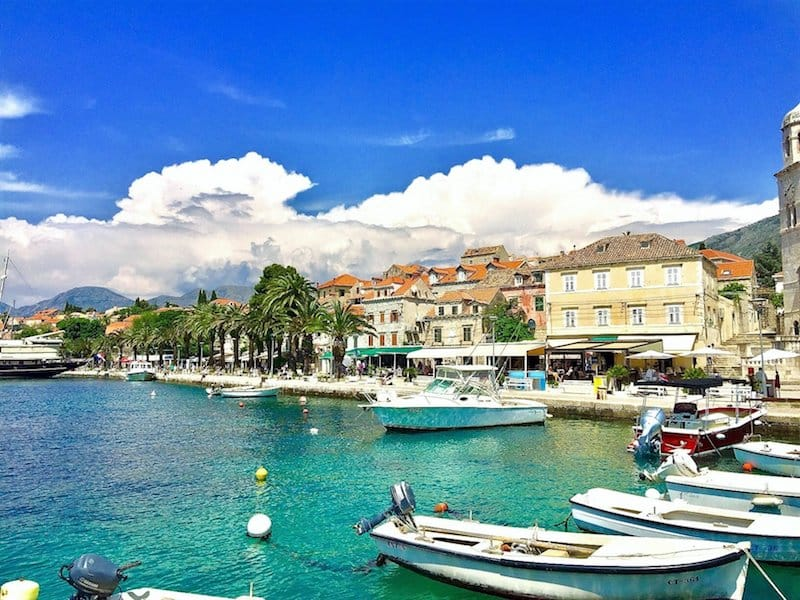 Cavtat harbour with boats