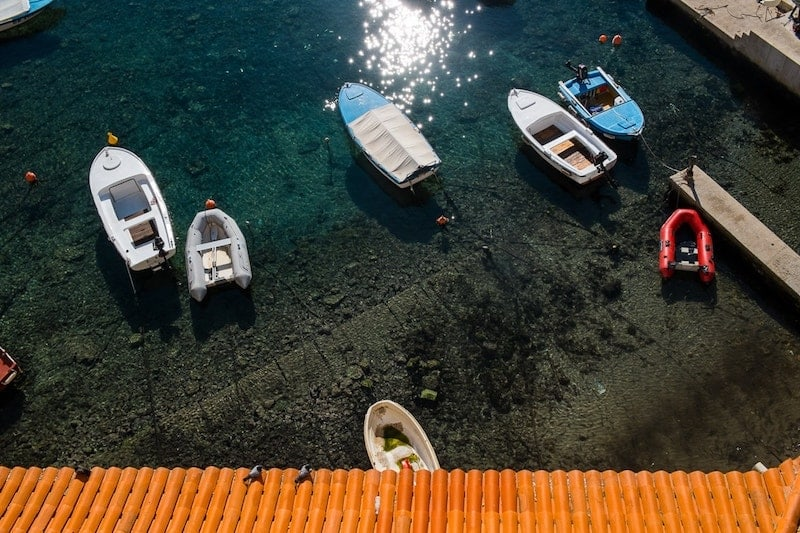 Small boats in Dubrovnik harbour