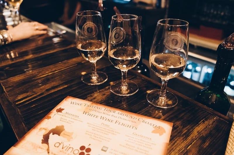Tasting flight of Croatian wine at D'Vino
