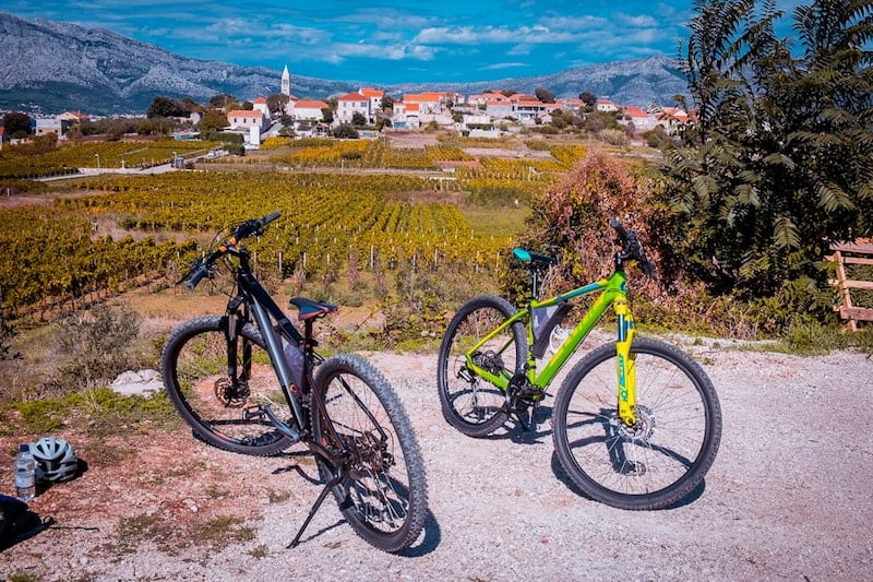 Mountain bikes parked near Lumbarda with village in the background