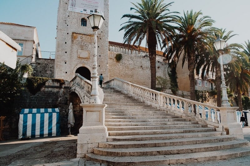 Venetian style staircase leading to Revelin Tower in Korcula Town