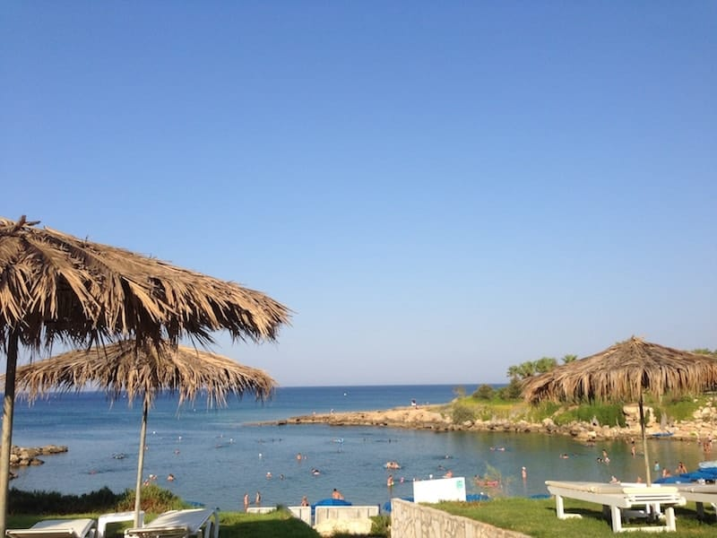 Parasols and sun loungers at Protaras