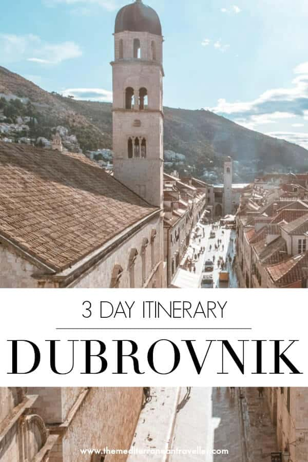 Dubrovnik Old Town from the walls with text overlay 'Dubrovnik - 3 day itinerary'