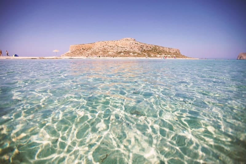 Shimmering translucent waters of Balos lagoon on Crete