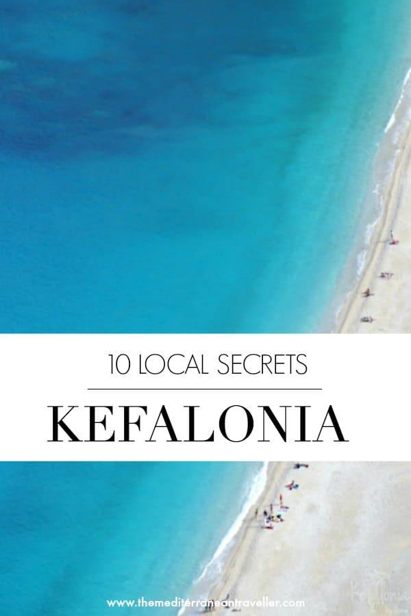 aerial view of Kefalonia beach with text overlay 'Kefalonia 10 Local Secrets'