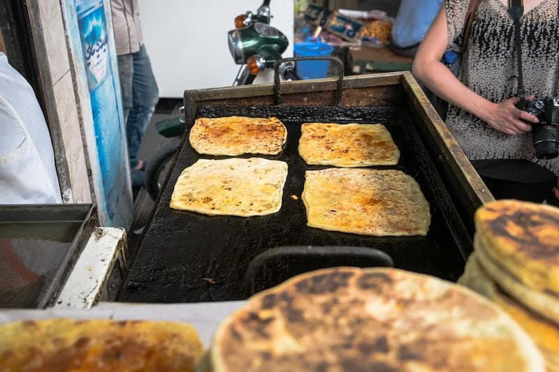 Moroccan pancakes on griddle