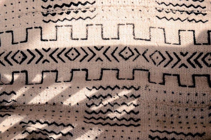 Close up of shadows on cushion fabric