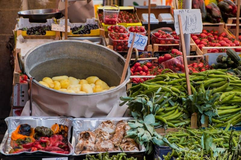 selection of vegetables at an Italian food market
