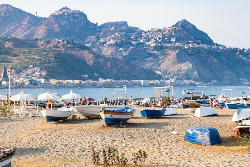 Fishing boats on the beach at Giardini Naxos