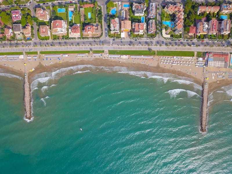 aerial shot of Sitges beach, Spain