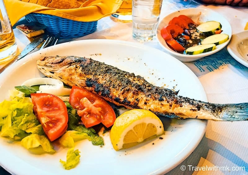 Grilled fish and salad on Crete