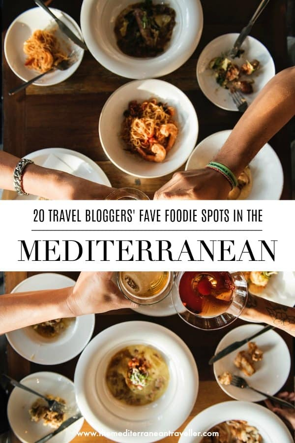 Sharing tapas with text overlay '20 travel bloggers' fave foodie spots in the Mediterranean'